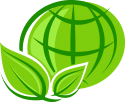 Icone mundo com um planta verde