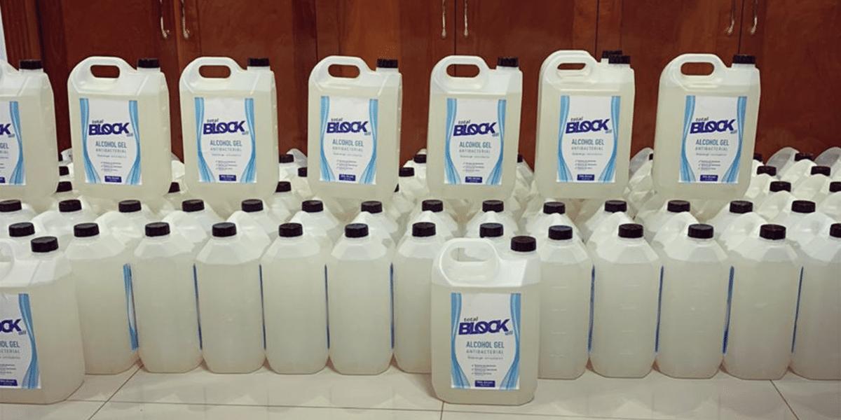 Embalagens de álcool gel