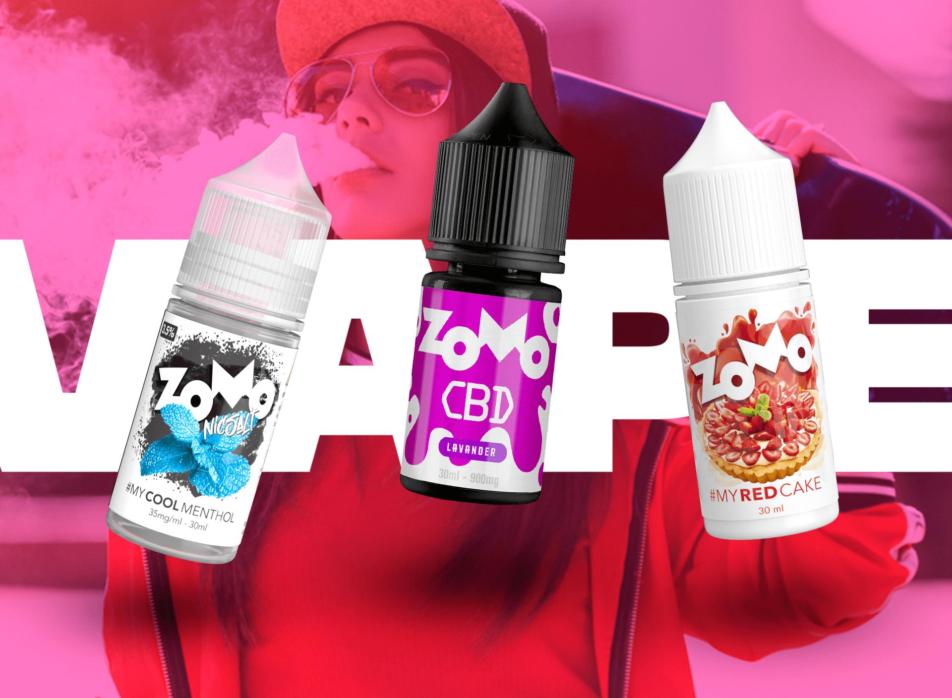 Banner zomo vape frascos CBD Flavors of Americas