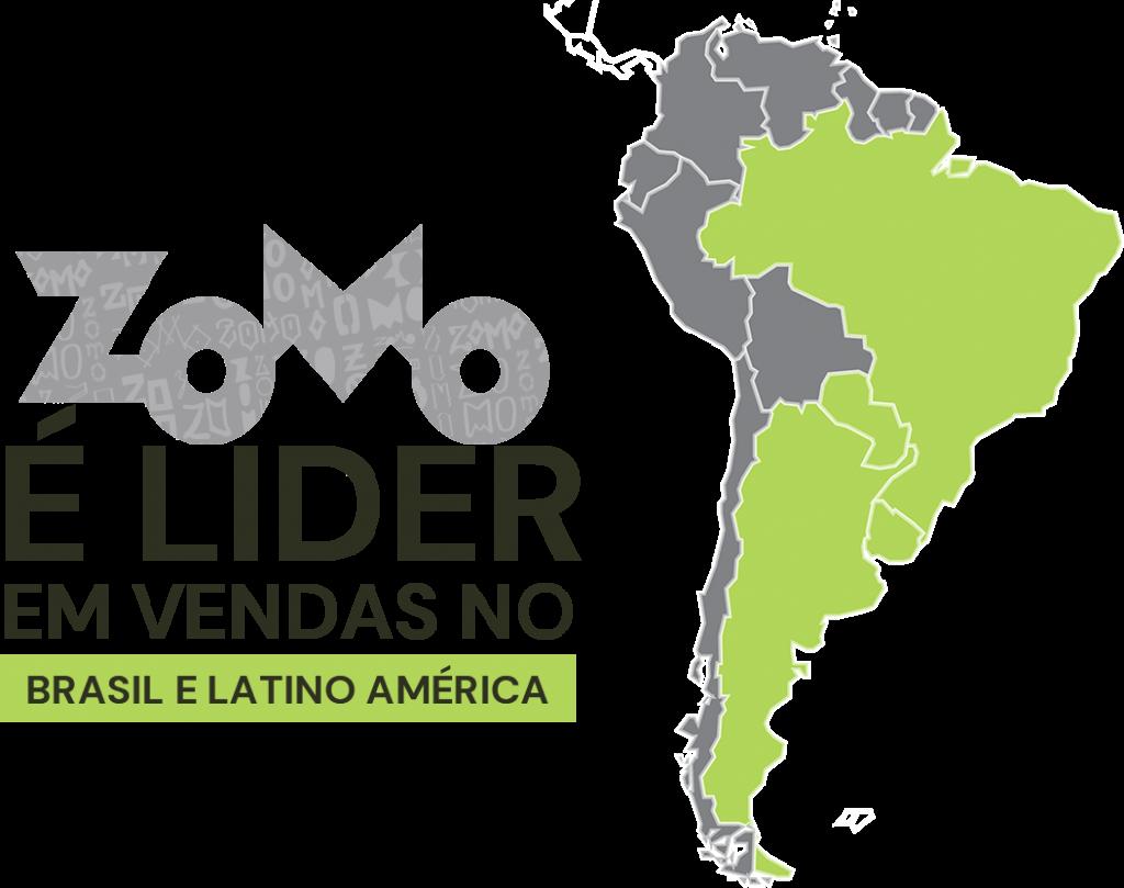 Zomo Lider em vendas no Brasil, mapa do brasil com detalhes na cor verde